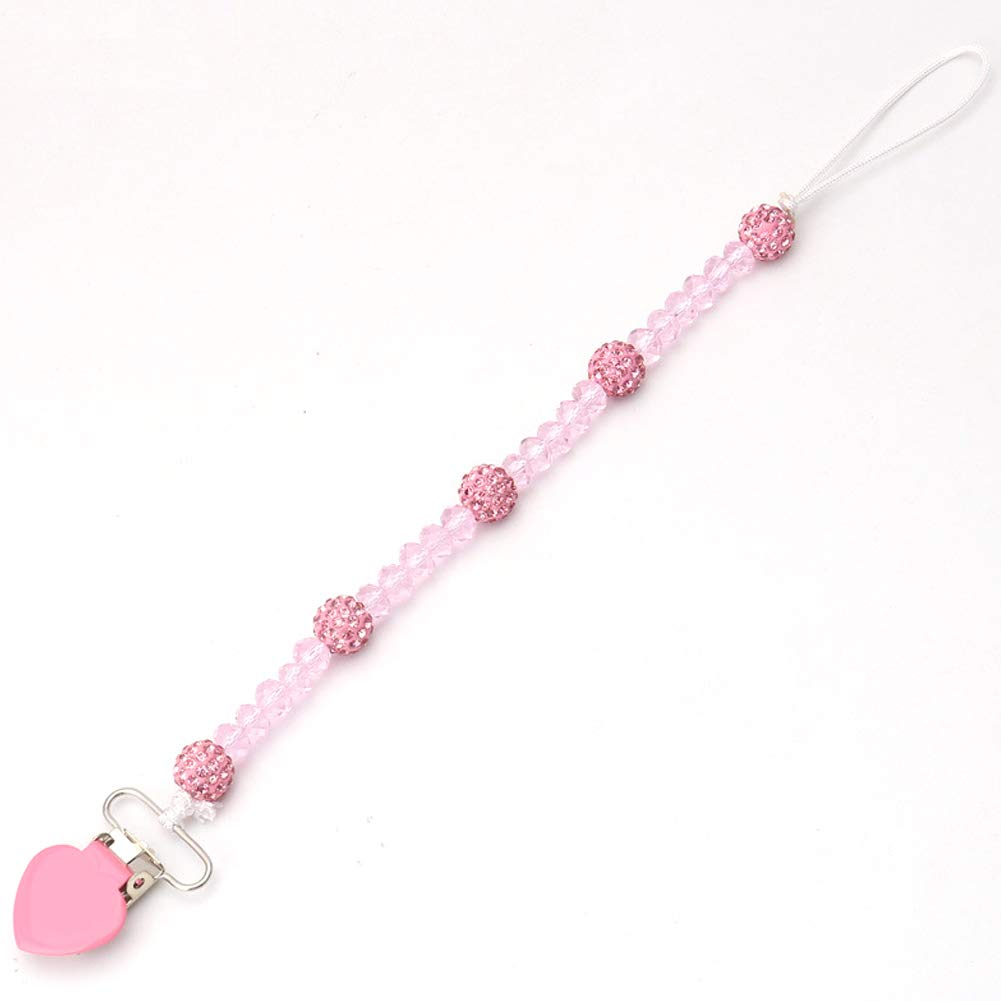 YaptheS Cute baby pacifier chain with clip or pacifier chain stand or belt 1PC (pink)