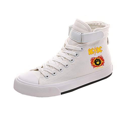 Ocasionales Acdc White01 Zapatos Transpirables Pareja Popular Lazada Ayuda Alta Lona De wfIwg