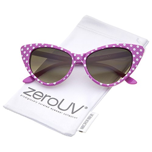 - zeroUV - Polka Dot Cat Eye Womens Mod Fashion Super Cat Sunglasses (Pink-White/Smoke Gradient)