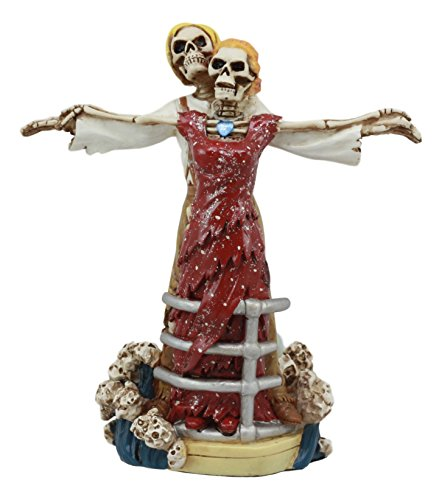 Ebros My Heart Will Go On Titanic Rose and Jack Skeleton Couple At Ship Hull Statue Day of The Dead Love Never Dies Figurine