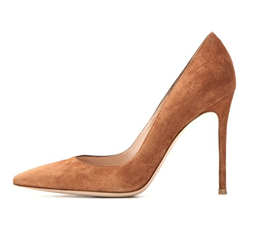 Heel Shoes Sammitop Stiletto Brown Classic Suede Pumps 10cm Toe Women's Pointed zwrTq0z
