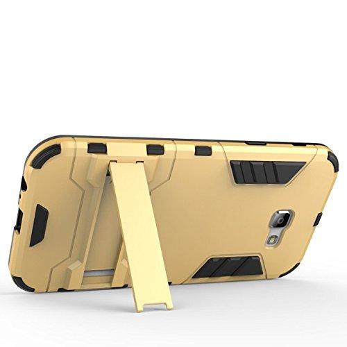 SRY 2 en 1 cubierta de la caja del teléfono caso duro protector PC + TPU con la caja a prueba de golpes del soporte para Samsung Galaxy A7 2017 ( Color : Gold ) Gray