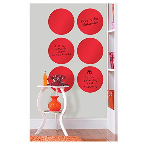 (Brewster Wall Pops Peel & Stick Red Hot Dry-Erase Dot Wall Decals with Marker, 6-Count)