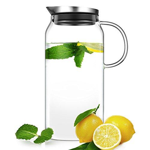 Ecooe Glaskaraffe 1,3 Liter Glaskrug aus Borosilikatglas Wasserkrug mit Edelstahl Deckel Karaffe Glaskanne