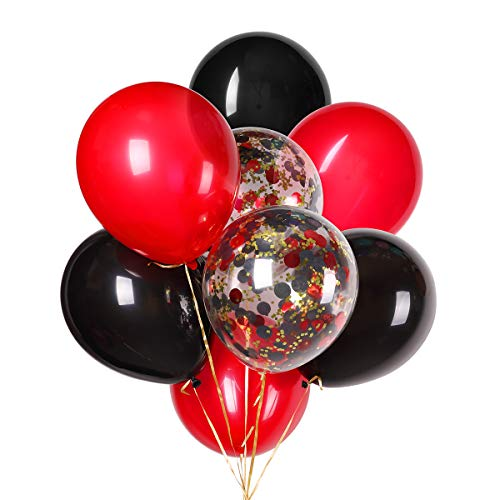 Black and Red Balloons for Lumberjack Party Supplies 12 inches Latex Balloon and Confetti Balloons for Wedding, Music Festival, Prom's Décor Bridal Shower Birthday Party Supplies 30 PCS ()