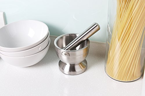 Stainless Steel Mortar & Pestle/Spice Grinder/Molcajete - Heavy Duty - Food Safe & BPA Free 6 Mortar and pestle grinds and crushes herbs, nuts, and spices Double stainless steel construction is extremely durable and compact Functional Design with Non-Skid Base and Heavy-Duty Pestle Press