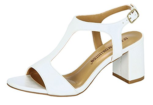Women's Amber-1 T-Strap Ankle Strap Chunky Block Heel Fomal Dress Sandals Ivory 10