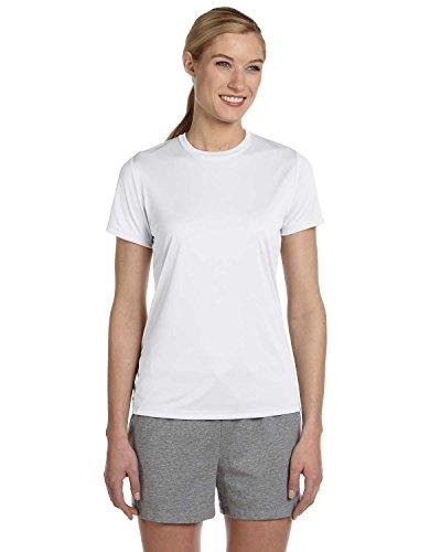 Hanes Ladies Cool DRI with FreshIQ Performance T-Shirt - WHITE - M - (Style # 4830 - Original Label)