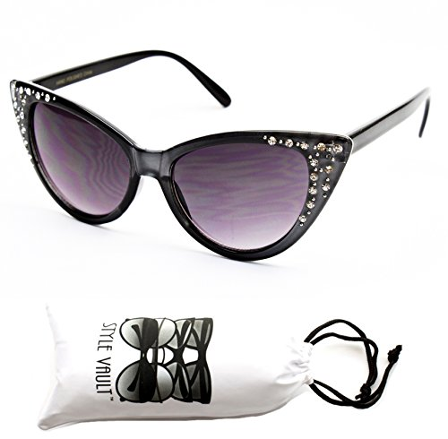 Wm528-vp Style Vault Cateye Pearl/rhinestone Sunglasses (KZH Grey, - Rhinestone Cat Eye Sunglasses