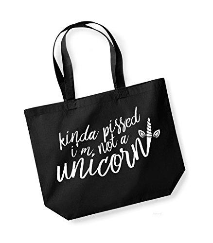 Tote Unisex Black Canvas A I'm Slogan Print Kinda Kelham Not white Bag Pissed Cotton Unicorn fqOXnw