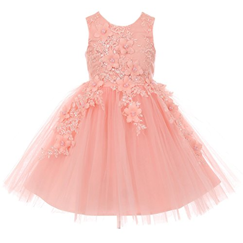 - Little Girls Sleeveless Satin Bodice Tulle Skirt with Raised Flowers and Beads Dress Blush - Size 2