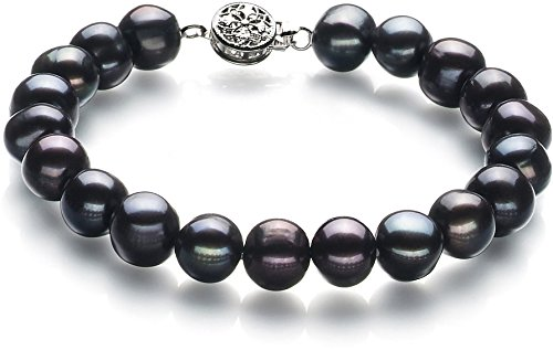 8mm Genuine Black Pearl Bracelet (PearlsOnly - Kaitlyn Black 8-9mm A Quality Freshwater Cultured Pearl Bracelet-7 in length )