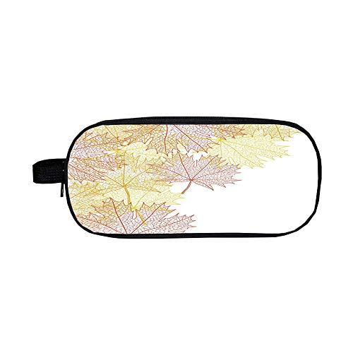 iPrint Pencil case Polychromatic Optional,Leaves,Pattern with Maple Tree Fall Leaves Skeleton Dried Golden Forms Halloween Decoration Decorative,Red Yellow,3D Print Design