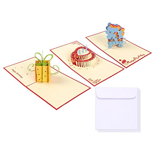 Set of 3 Happy Birthday Greeting Cards - 3D Popup Cards with Birthday Cake, Birthday Present and Balloon Themes - Includes Envelopes, 4.75 x 4.75 Inches