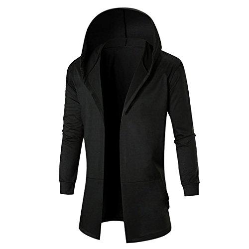 Kixing(TM) Autumn Winter Casual Cardigan Sweatshirt Hooded Coat (XXL, Black)