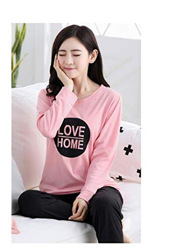 Neck Collar Karting (Woman Pajamas Sets NEWautumn Long Sleeve Thin Cotton Home Wear Cloth Cartoon Print Loose Sleepwear Set Pyjama for Women Q Love Fen XXL)