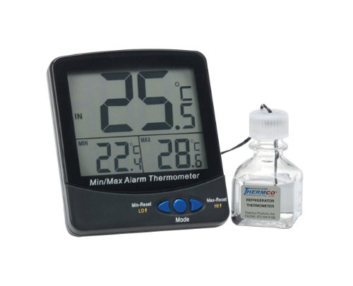 Thermco ACC895INC Large Digit Triple Display 30ml Bottle Digital Thermometer, Incubators Application, -50 to 70°C Range by THERMCO