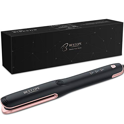 BESTOPE 2 In 1 Hair Straightening and Curler, Professional Anti-static Ceramic Hair Straightener Flat Iron with 15s MCH Tourmaline Ions Heating, 1 Inch Black Curling Iron Wand with Clips Gloves