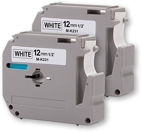 2PK Onirii Black on White Label Tape 12mm Wide X 8m Length 1//2 Compatible Brother P-Touch Printing Machines/&Makers M231 Mk231 M-k231