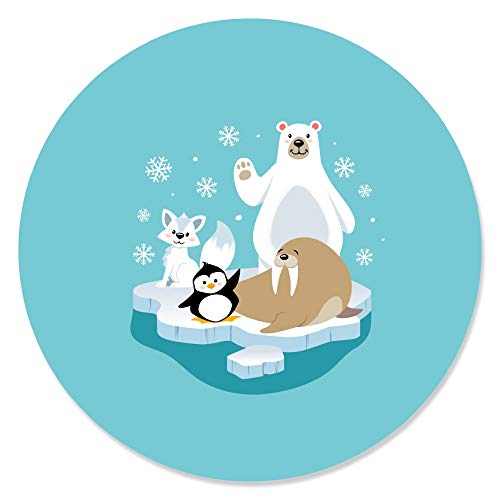 Arctic Polar Animals - Winter Baby Shower or Birthday Party Circle Sticker Labels - 24 Count