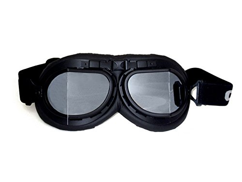 CRG Sports Vintage Aviator Pilot Style Motorcycle Cruiser Scooter Goggle T08 T08BSB Silver lens, black frame, black padding