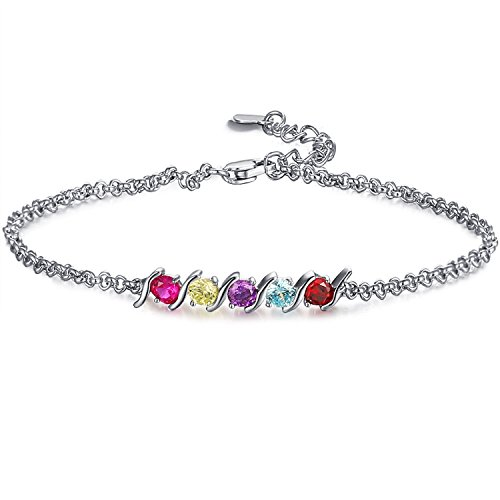 Caperci 925 Sterling Silver Round Shaped Multi-Gemstones Adjustable Link Tennis Bracelet for Women by Caperci