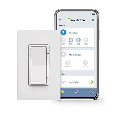 Leviton DW6HD-1BZ Decora Smart Wi-Fi 600W Incandescent/300W LED Dimmer, No Hub Required, Works with Alexa, Google Assistant and ()