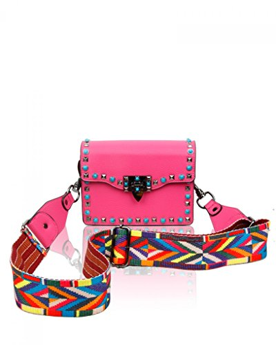 Body Bag strap Faux BAG Cross Aztec Leather COLOR Studded STRAP With ORCHID LeahWard multicoloured Bn1W6Iqxw6