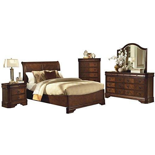 Savona Sleigh 5 Piece E King Bed, Nightstand, Dresser & Mirror, Chest in Burnished Cherry (Sleigh Bedroom King Suite)