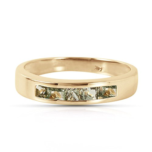 Natural Green Sapphire (18K Solid Yellow Gold Ring with Princess Cut Natural Green Sapphires 0.60 carats (9))