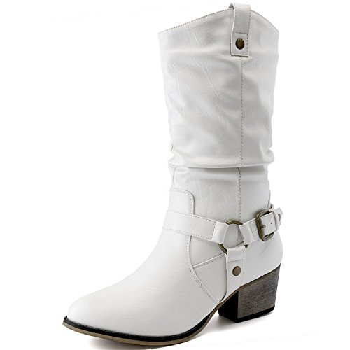 Strap White Calf Ankle Western Boots Slouch 01 Pu Buckle Womens Style Mid Cowboy SIAPxwq