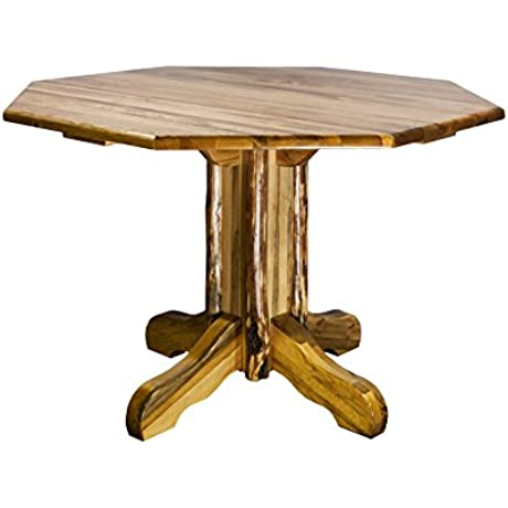 Montana Woodworks Glacier Country Collection Center Pedestal Table With Octagonal Table Top
