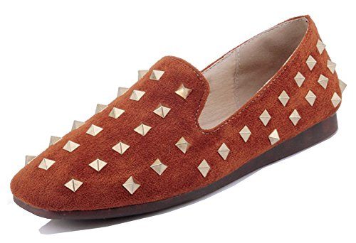 Aisun Womens Stylish Studded Low Cut Dressy Square Toe Driving Cars Slip On Flats Shoes With Studs Brown 7Llpq1q