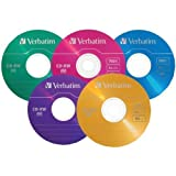 CD-RW Discs, 700MB/80min, 2X/4X, Slim Jewel Case, Matte Silver, 10/Pack Slim Jewel Cases/Assorted Color Pack of 20