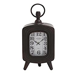 Deco 79 Metal Table Clock, 8 by 17-Inch