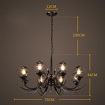 ZWL Loft Lámpara de hierro retro, iluminación de la vela ...