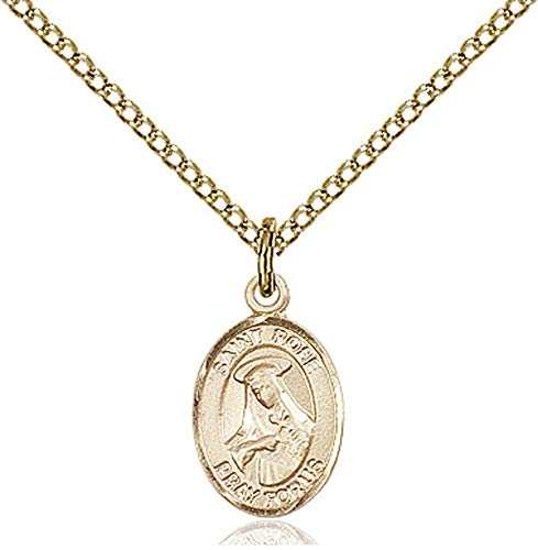 14kt Gold Filled St. Rose of Lima Pendant, Gold Filled Lite Curb Chain Patron Saint Vanity/South America 1/2 x 1/4