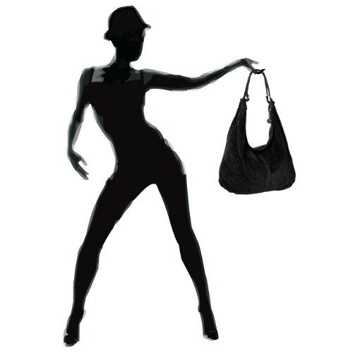 CASPAR femme DAIM Sac noir en à TL617 main BxnrBwqgAf
