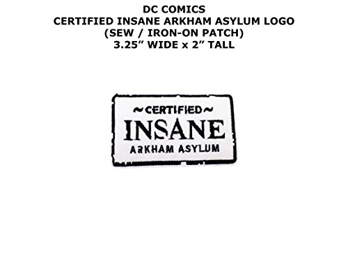 Insane Asylum Jacket Adult Costumes - DC Comics Certified Insane Arkham Asylum Super Hero DIY Embroidered Sew or Iron-on Applique Patch Outlander Gear