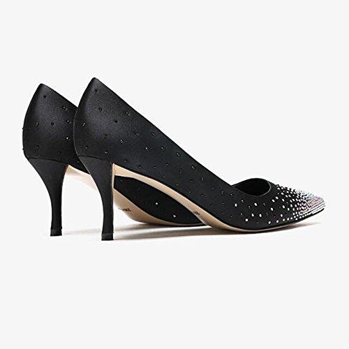 Satén Damas 3 Zapatos De UK5 tacón Zapatos Rhinestone Tamaño EU38 Apuntado 3 Zapatos 5 Color YIXINY Boda de Honor Mujer CN38 Tacones Banquete 7cm De De twxOdnHnq