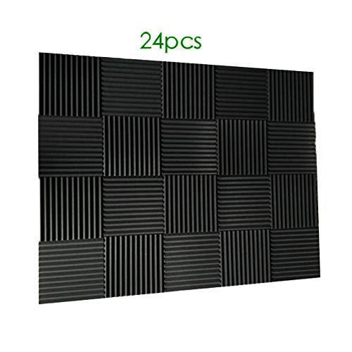 "24 Pack- Charcoal Acoustic Panels Studio Foam Wedges 1"" X 12"" X 12"" (24pcs, black)"