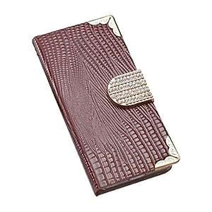 GDW Funda con Soporte/Caja de la carpeta/Elegante de la caja - Look Diamante - para iPhone 4/4S/iPhone 4 ( Rojo/Negro/Blanco/Azul/Brown/Rosa , Cuero PU ) , Rose Pink
