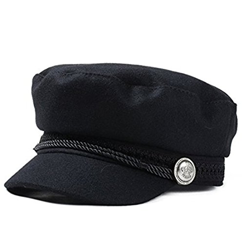 CYPER TOP Unisex Classic Wool newsboy Hat Fall Winter Cabbie Beret Caps Black One Size -