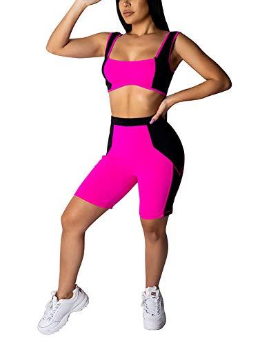(Women's Sexy Bodycon Tank Crop Top Shorts Sets Club 2 Piece Outfits Color Block Capri Jumpsuits Romper Biker Shorts Pants Playsuit Joggers Tracksuit Sportswear Party Pink,)