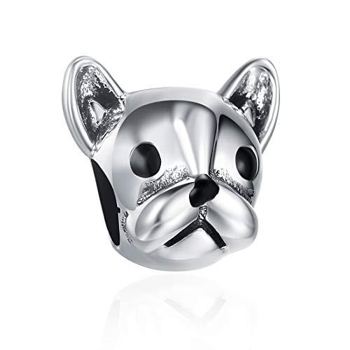 SILVERCUTE Animal Bead Charms Fit Pandora Bracelets Antique 925 Sterling Silver for Dog Lover (Bulldog Charm) ()