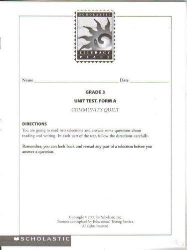 Download Scholastic Literacy Place, Grade 3 Unit Test, Form A, Community Quilt PDF