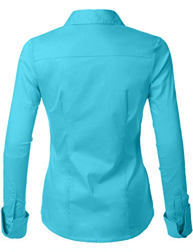 Le3no womens tailored long sleeve button down shirt with for Womens stretch button down shirt