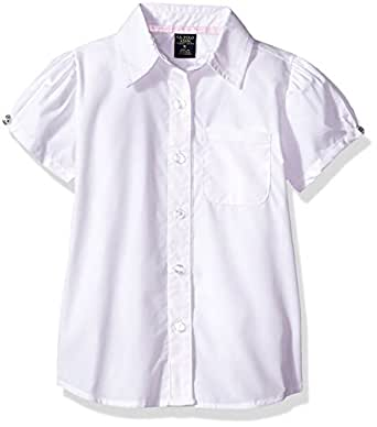 U.S. Polo Assn. Little Girls' Blouse (More Styles Available), Short Sleeve White-IHVEH, 4
