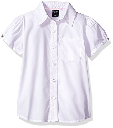 Girls Short Sleeve White Blouse (U.S. Polo Assn. Big Girls' Blouse (More Styles Available), Short Sleeve White-IHVEH, 10)