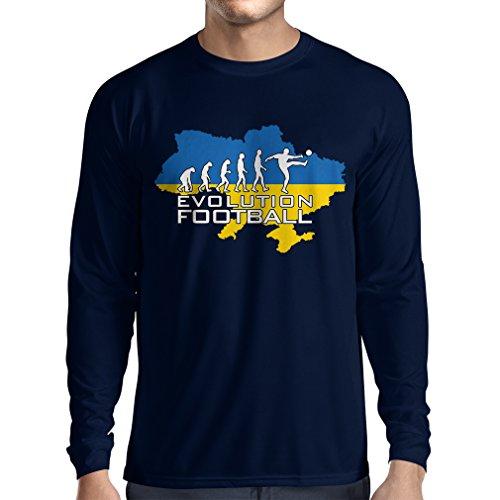 fan products of N4469L Long Sleeve t Shirt Men Evolution Football - Ukraine (X-Large Blue Multi Color)